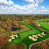 Aerial view of the par-3 3rd hole at ThunderHawk Golf Club